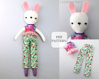Felt Doll Pattern, Rabbit Sewing, Plush Rabbit Pattern, Stuffed Rabbit Pattern, Rabbit Sewing PDF, Plush Rabbit Craft, Felt Rabbit Pattern