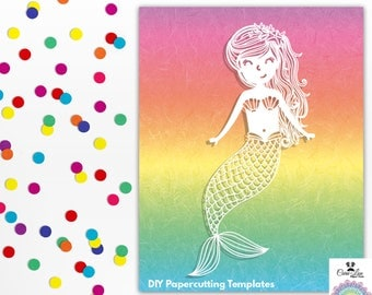 Bella The Mermaid DIY Papercutting Template - Commercial & Personal