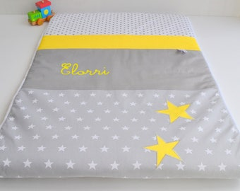 Personalized Plaid baby blanket hand made star @lacouturebytitia yellow and grey