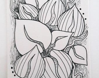 "Card ""In black and white leaves"""