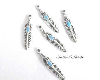 10 charms silver and turquoise feather size 28 x 5 mm
