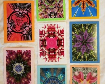 Blank greeting card photos made with kaleidoscope feature.
