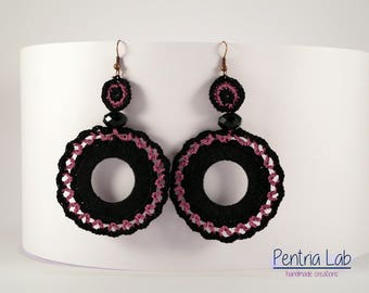 crochet circle crafted drop earrings