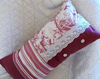 Mother of Pearl cover Toile de Jouy cushion, eyelet embroidery and buttons