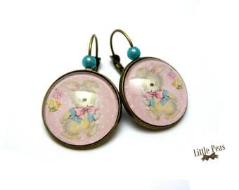 Little rabbit glass dome earrings retro vintage