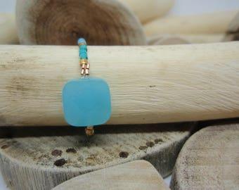 """Ring """"Miyuki square beads"""" turquoise"""