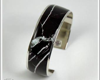 2 cm silver plated Cuff Bracelet marble black Alicia
