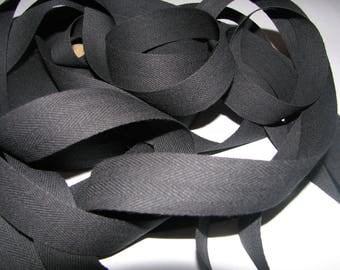 Black cotton twill tape