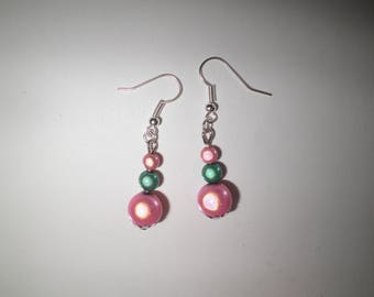 00366 - Earrings two tone pink and green