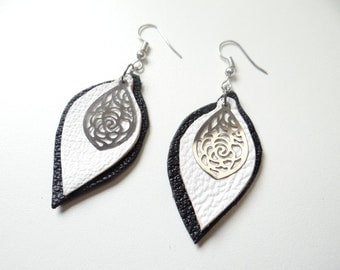 Black and White Leather earrings light and timeless