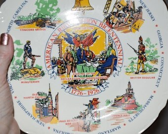 American Revolution Bicentennial Plate/ Patriotic Memorabilia/ Americana Decor/ Bicentennial Plates/ Vintage Americana Plates/ Historical