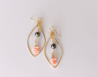 Gold Hoop Leaf shaped Earrings.