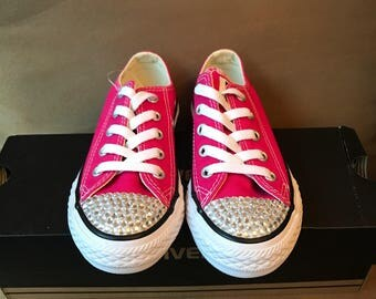 Converse - Bedazzled Shoes - Kids - Gurks Fashion - Pink - Sneakers - Custom Design - Hand Crafted