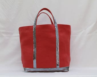 The bag in 100% coral red linen with sequins silver sideral
