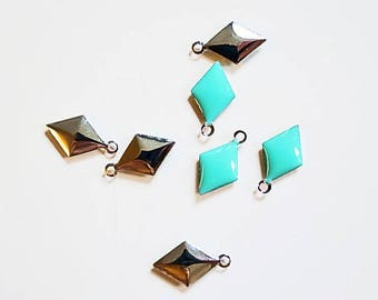 10 sequins turquoise epoxy over brass, chrome gold color 12 mm x 6mm