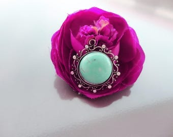 Silver turquoise stone, carved stamp and turquoise cabochon, 3.5 cm