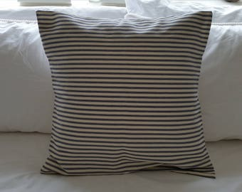 Natural linen look and blue stripe cushion cover