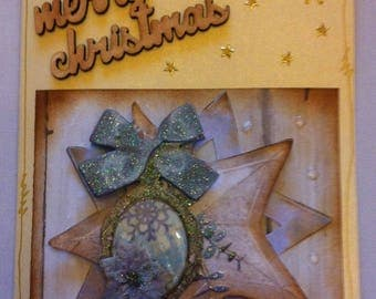 creamy yellow card Christmas, 3D, vintage, Star and Medallion base