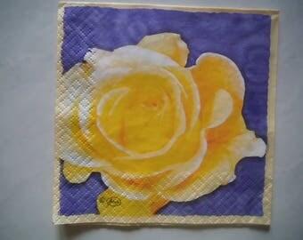 "Pretty NAPKIN ""Yellow Rose"" pattern"