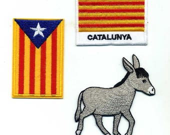 Badges Catalans, independence donkey and Catalunya, iron or sew 5 x 8cm. Pyrenees Catalonia catalunia Patch applique