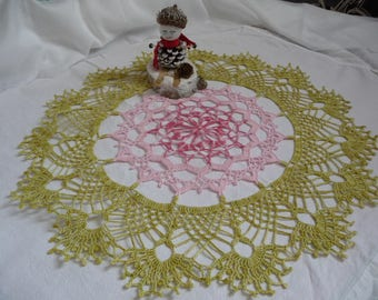 Large doily is handmade green Ombre, pink, pink shades