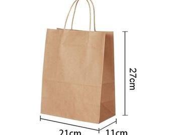 set of 2 gusseted Brown kraft paper bags