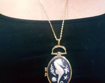 Navy Blue and Gold Seahorse Locket