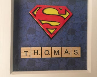 SUPERMAN super hero  3d decoupage personalised picture
