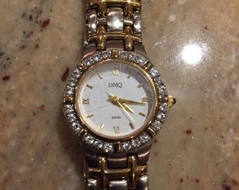 DMQ (swiss) ladies diamonds 2-tone gold/ stainless quartz watch(1c shipping)