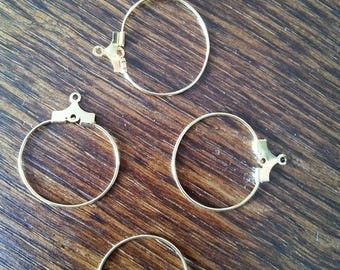 small 10 supports for creole earrings in gold color metal