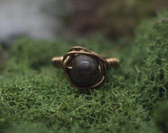 Ring size Wire wrapped Bronzite