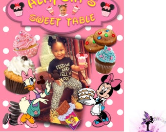 Customizable Pink Minnie Mouse Birthday Party Sweet Table | Dessert Table Top Sign