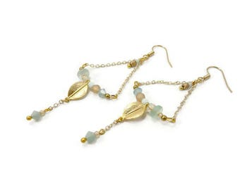 Pastel blue peach triangular earrings on chain