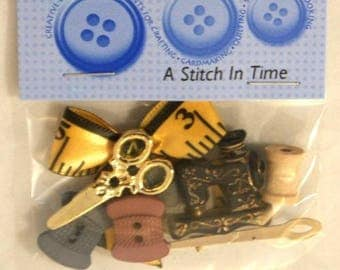 "9 novelty buttons - ""A Stitch in time""-sewing theme"
