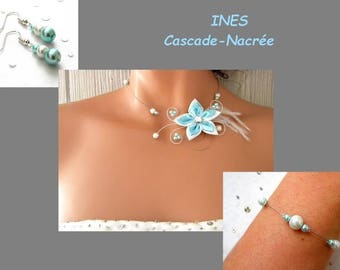 Bridal flower JULINE light turquoise Silver White Pearl bridal set