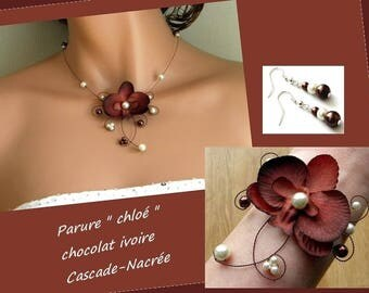 Ornament orchis Chloe chocolate brown ivory bridal wedding Pearl Silver Aluminum