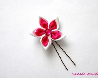 fuschia jewelry White Pearl silver bridal satin wedding flower hair stick