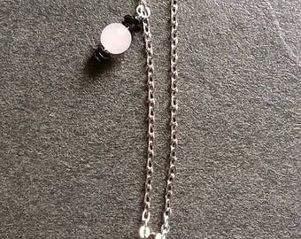 """""""Doll Pink Flower"""" necklace on chain 72.5 cm + charms + 10 cm pendant"""