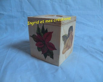 """Angels and the poinsettia"" wooden cube candle"