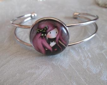 Cabochon girl silver-plated bracelet