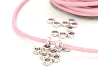 10 washers beads silver large hole metal 7x3mm