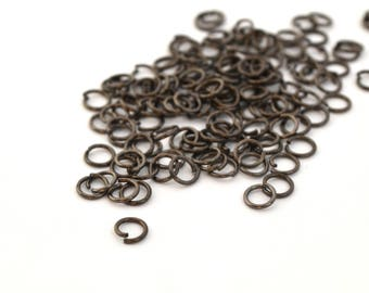 50 Silver 5mm black metal jump rings