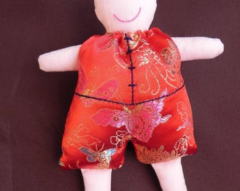 Red Chinese Romain Jacquard doll