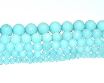 (JADE) semi-precious stone bead - round, faceted (10mm) - Iceland - PSPJARD1015TUL496 blue
