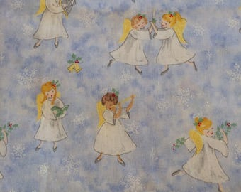 Christmas Angels on Blue Fabric