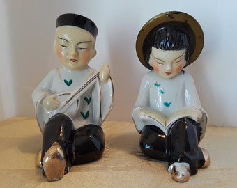 Sitting Chinese Man and Woman, Made In Japan, Vintage
