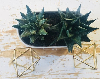 Himmeli hanging brass decoration, planter or mobile, geometric ornament