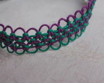 16 inch purple and green hemp necklace