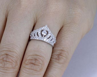 925 Sterling Silver Queen Tiara CZ Engagement Ring Wedding Band SZ 3-12 SFL013