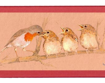 "Red hard box adorned with ""Robins fed"", a work of Martin deMEZERAC"